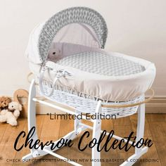 #LimitedEdition Chevron White Wicker Moses Basket made with love in the UK. Get it while stocks last, on #sale for just £34.99!