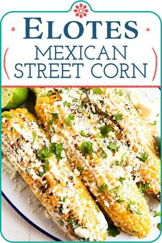 Mexican street corn is a staple of summer and it's easy to make at home! Top char-grilled corn on the cob with a tangy, creamy sauce, sprinkle with crumbled cheese and dive in. Make this for your next backyard cook-out! #elote #mexicancorn #mexicanstreetcorn #grillrecipe #grillsidedish #cornonthecob #simplyrecipes Simply Recipes, Great Recipes, Favorite Recipes, Delicious Recipes, Recipe Ideas, Easy Recipes, Mexican Entrees, Mexican Food Recipes, Mexican Dishes