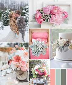 pink and grey winter wedding color ideas 2014