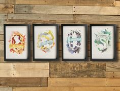 HOGWARTS HOUSE CRESTS posters - Gryffindor Hufflepuff Ravenclaw Slytherin .Inspired by the Harry Potter series, Giclée Fine art prints.