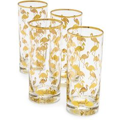Gift Boutique Set of 4 Flamingo Highball Glasses (6,350 INR) ❤ liked on Polyvore featuring home, kitchen & dining and drinkware