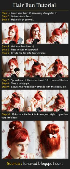 """Another pinner wrote: """"Hair Bun Tutorial. This is SOO much easier than the normal way of using a hair donut!"""""""