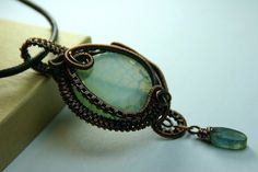 Sea foam Green Crab Agate and Copper Woven by AllowingArtDesigns, $68.00