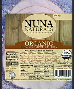 Nuna Naturals Hickory Smoked Turkey Breast  - Nuna Naturals mission is to bring you the best tasting 100% organic products with the simplest natural ingredients. At the heart of our core values is a commitment to caring for the whole scope of the food chain which encompasses the wholesomeness of our products, the human treatment of animals, and sustainable practices that are optimal for the land and our environment. #paleo #certifiedpaleo