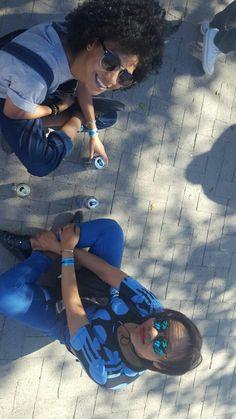 Having fun is always a must! #happy #fun #blue #naturalhair #friendship