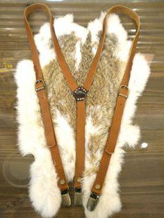 Suspender Leather Womens mens cow Nume leather suspenders natural slim Suspender $35USD