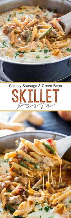20 minutes is all you need to make this family pleasing easy flavorful pasta dish. Cheesy Sausage and Green Bean Skillet Pasta. And it is only ONE pot so almost no dishes. Sausage Recipes, Pork Recipes, Pasta Recipes, Cooking Recipes, Easy Dinner Recipes, Easy Meals, Midweek Meals, Dinner Ideas, Sausage And Green Beans