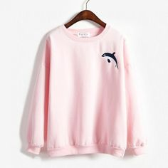 Wheretoget - Light pastel pink whale sweatshirt