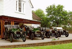 From the left- to the right-hand side: 1906 10HP Tonneau by Barker (chassis 20165), 1905 15HP (chassis 26330), 1905 20HP Harrington Side-entrance Tonneau (chassis 26350) and 1905 30HP Roadster by Jarvis (chassis 26355)