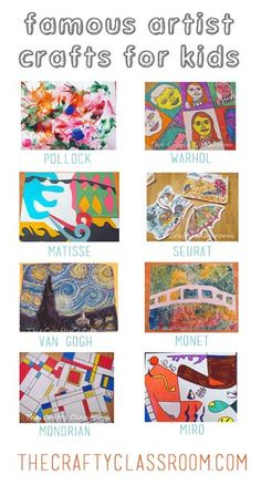 Famous Artists Crafts for Kids Use these books and love the great Artist series. THESE ARE AWESOME. The post Famous Artists Crafts for Kids appeared first on Welcome! Material Didático, Artist Project, Ecole Art, School Art Projects, Art History Projects For Kids, Art History Lessons, Class Projects, Kindergarten Art, Art Lesson Plans