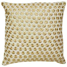 Yorkville by Kate Spade New York Gold Embroidered Dot Pillow - Waiting On Martha - 1