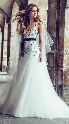 sabrina dahan bridal fall 2016 audrey silk tulle black white 3 dimensional  beading wedding dress paris a7ae2793b