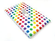 Rainbow Polka Dots Light Switch Cover Children Decor Red Orange Yellow Green Blue Purple Kids 999. $8.00, via Etsy.