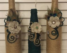 Set of 3 jute twine wrapped wine bottles in beige and dark green, center pieces, home decor
