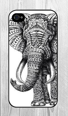 Black and White Elephant Animal Pattern Iphone Case
