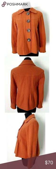 "Tommy Hilfiger Jacket Beautiful burnt orange jacket. Fully lined, button front, two side pockets, pleats detail on front, back and sleeves. 58% wool 42% viscose. 17.5"" shoulder to shoulder, 18.5"" pit to pit, 21"" shoulder to bottom hem, sleeves 20"" long. worn a handful of times, in excellent condition. The color is slightly darker than the picture due to lighting. Tommy Hilfiger Jackets & Coats"