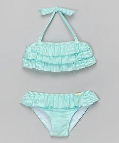 Jessica Simpson Collection Turquoise Ruffle Seersucker Bikini - Toddler & Girls | zulily