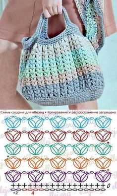 Escolha e copie: 18 Modelos de bolsa Summer Bag ⋆ De Frente Para O Mar - Taschen - Stricken Crochet Diagram, Crochet Shawl, Crochet Stitches, Knit Crochet, Crochet Patterns, Knitting Patterns, Crochet Handbags, Crochet Purses, Crochet Gifts