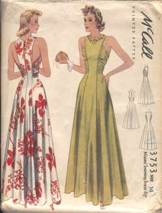 Vintage Sewing Patterns McCall 3753 I'd love to make this for myself--D - McCall Misses' Evening Dress. Featured in McCall's June 1940 magazine 1930s Fashion, Look Fashion, Retro Fashion, Vintage Fashion, Fashion Design, Dress Making Patterns, Vintage Dress Patterns, Clothing Patterns, Maxi Dress Patterns