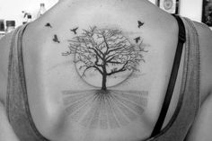 tree tattoo dotwork and line back