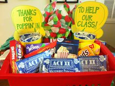 room mom gift!  blockbuster giftcard plus goodies for family movie night :)