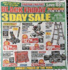 Harbor Freight Black Friday 2017 Ads and Deals Harbor Frieght offers affordable tools of all kinds, including power tools, air tools and hand tools. During Harbor Freight Black Friday 2017 Sale, sh. Black Friday Ads, Black Friday Shopping, Online Shopping Deals, Shopping Hacks, Friday Movie, Harbor Freight Tools, Money Saving Mom, Cyber Monday Deals, Air Tools