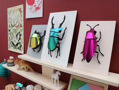 This puzzle kit contains all parts to assemble the Stag Beetle without glue. The beetle body is made of black cardboard. The shields, made of metallic paper, are available in four stunning colours. 3d Paper, Paper Toys, Paper Crafts, Diy Projects To Try, Projects For Kids, Art Projects, Insect Art, Insect Crafts, Metallic Paper