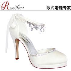 2013 European and American fashion waterproof heels white bridal wedding shoes bow tie diamond pendant elegant shoes - Taobao