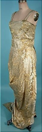 """c. 1913 Edwardian Platinum and Gold Lame Brocade Trained """"Hobble"""" Gown. Sideway"""