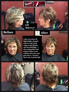 Fall Makeover, color Correction, allover color, Warm Coppery hi-lights. Razor cut with lots of texture.  Love the new look!!
