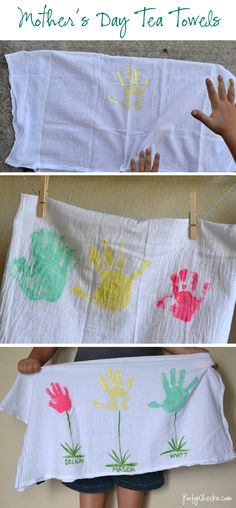 Looking for something new for Mom this Mother's Day?  Why not this cute tea towel craft for the kiddos?!