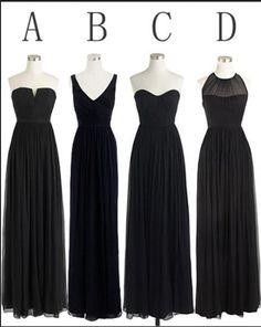 Black Cheap Simple Mismatched Styles Chiffon Floor-Length Formal Long Bridesmaid Dresses