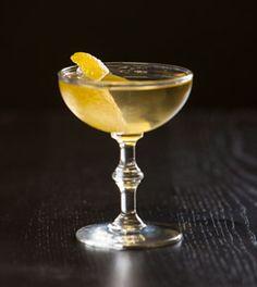 Crisp Herbal Retreat: Absinthe, Riesling, Dry Vermouth, Celery Bitters, Lemon Peel Twist.