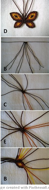 macrame buttefly - great photo tutorial working from centre and adding threads, (needs translation)