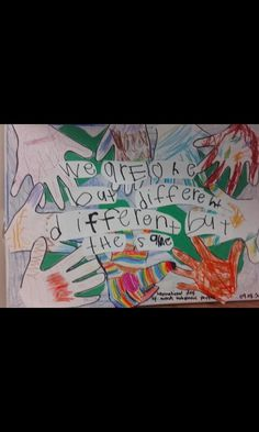 Childrens coloured handprints