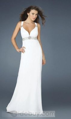 Affordable White Deep V Neck Floor-length Sleeveless Evening Dresses