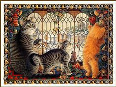 Christmas cats and New Year's cats painting. Lesley Ann Ivory.