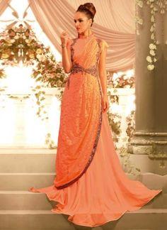 Orange Embroidery Work Georgette Net Designer Fancy Long Wedding Gown         #wedding #designer #partywear #gown       http://www.angelnx.com/gown