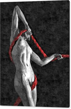 Limited Time Promotion: Red Ropes - Abstract Bdsm, Bondage Play Nude Stretched Canvas Print
