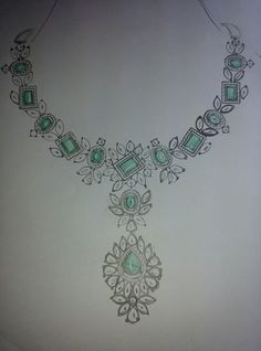 Necklace Drawing, Jewelry Design Drawing, Jewelry Illustration, Jewellery Sketches, Diamond Jewelry, Emerald Diamond, India Jewelry, Embroidery Jewelry, Schmuck Design