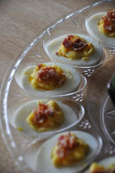 Bacon Cheddar Deviled Eggs #recipe #bacon