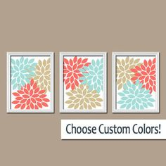 Coral Colored Wall Decor spring multi color wall art prints collection - set of (4) - wall