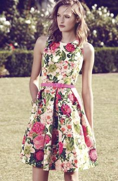 Loving the colorful floral lately | Eliza J Belted Print Faille Fit & Flare Dress | Nordstrom