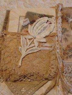 Mixed Media OOAK Fabric Lace Collage Book Scrapbook Album   eBay