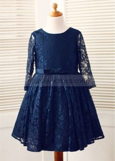 Navy Blue Lace Long Sleeves Slit Back Knee Length Flower Girl Dress