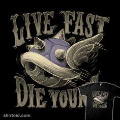 Live Fast, Die Young | Shirtoid #blancavidal #blueshell #gaming #mariokart #nintendo #videogame