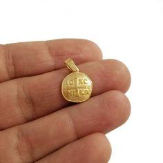 Million Charms 14K Tri-Color Gold Spirit Saint CZ Charm Pendant 25mm x 20mm with 18 Rolo Chain