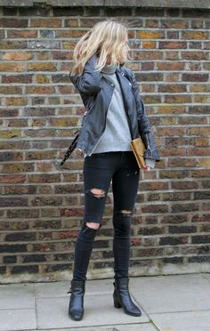 COCOCOZY: NEUTRAL ZONE - Perfect look with an edge from Fashion Me Now blog! Great ripped black jeans, boots, gray turtleneck sweater and leather jacket. Chic biker!