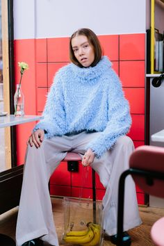 Strong colors fashion editorial. Bananas in a bag.