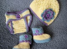 Crocheted Baby Girl Diaper Cover,  Flowered Beanie Cap and Matching Cuffed Booties in soft yellow. blue and purple, easy care yarn via Etsy